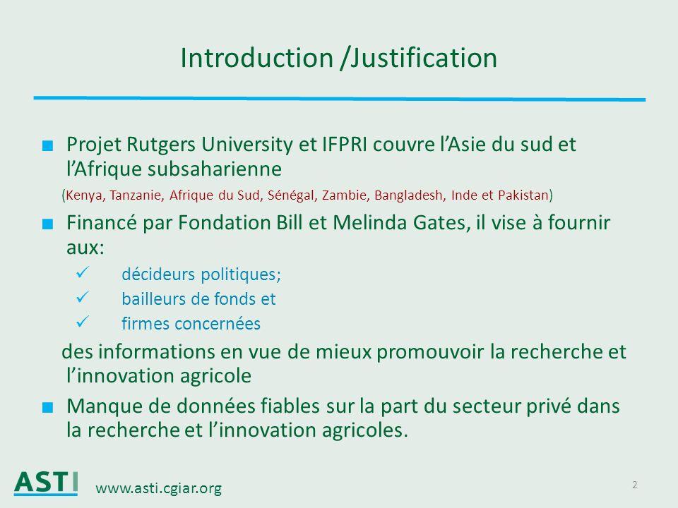 www.asti.cgiar.org 2 Introduction /Justification Projet Rutgers University et IFPRI couvre lAsie du sud et lAfrique subsaharienne (Kenya, Tanzanie, Af