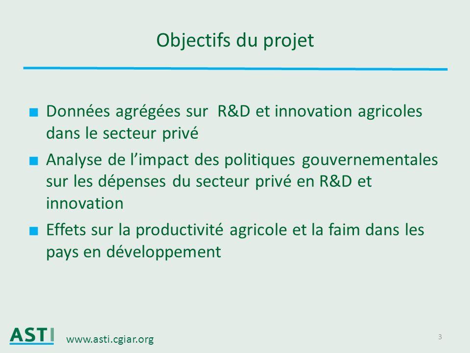 www.asti.cgiar.org 3 Objectifs du projet Données agrégées sur R&D et innovation agricoles dans le secteur privé Analyse de limpact des politiques gouv