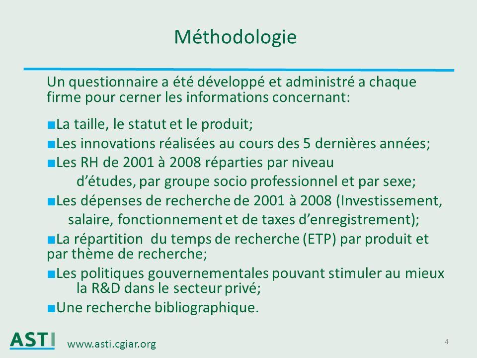 www.asti.cgiar.org 4 Méthodologie Un questionnaire a été développé et administré a chaque firme pour cerner les informations concernant: La taille, le