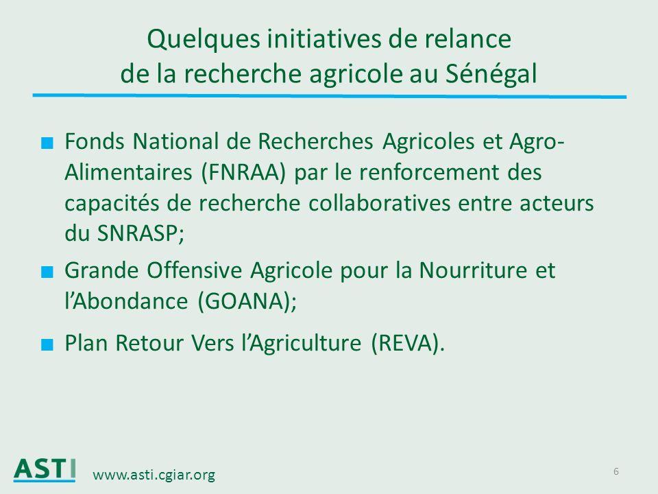 www.asti.cgiar.org 6 Quelques initiatives de relance de la recherche agricole au Sénégal Fonds National de Recherches Agricoles et Agro- Alimentaires