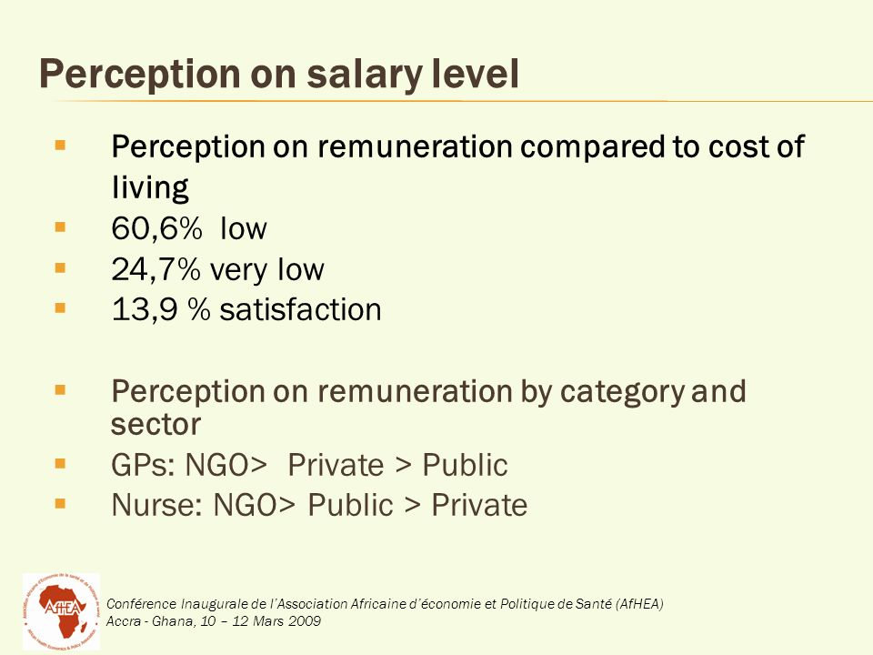 Conférence Inaugurale de lAssociation Africaine déconomie et Politique de Santé (AfHEA) Accra - Ghana, 10 – 12 Mars 2009 Perception on salary level Perception on remuneration compared to cost of living 60,6% low 24,7% very low 13,9 % satisfaction Perception on remuneration by category and sector GPs: NGO> Private > Public Nurse: NGO> Public > Private