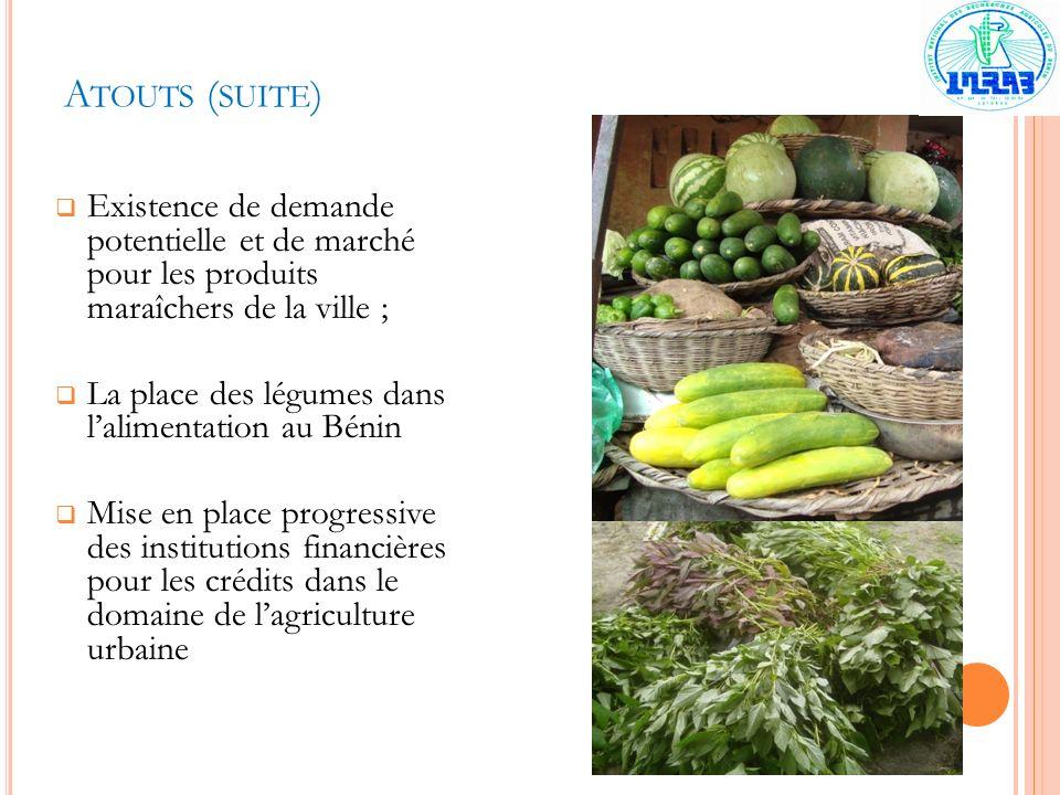 A TOUTS ( SUITE ) Existence de demande potentielle et de marché pour les produits maraîchers de la ville ; La place des légumes dans lalimentation au