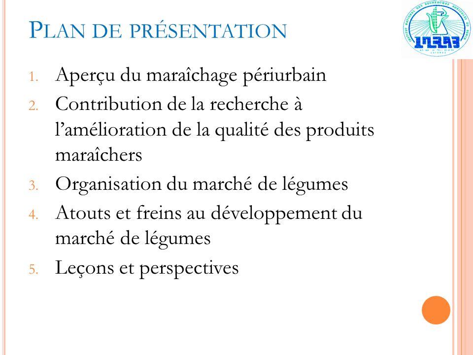 P LAN DE PRÉSENTATION 1. Aperçu du maraîchage périurbain 2. Contribution de la recherche à lamélioration de la qualité des produits maraîchers 3. Orga