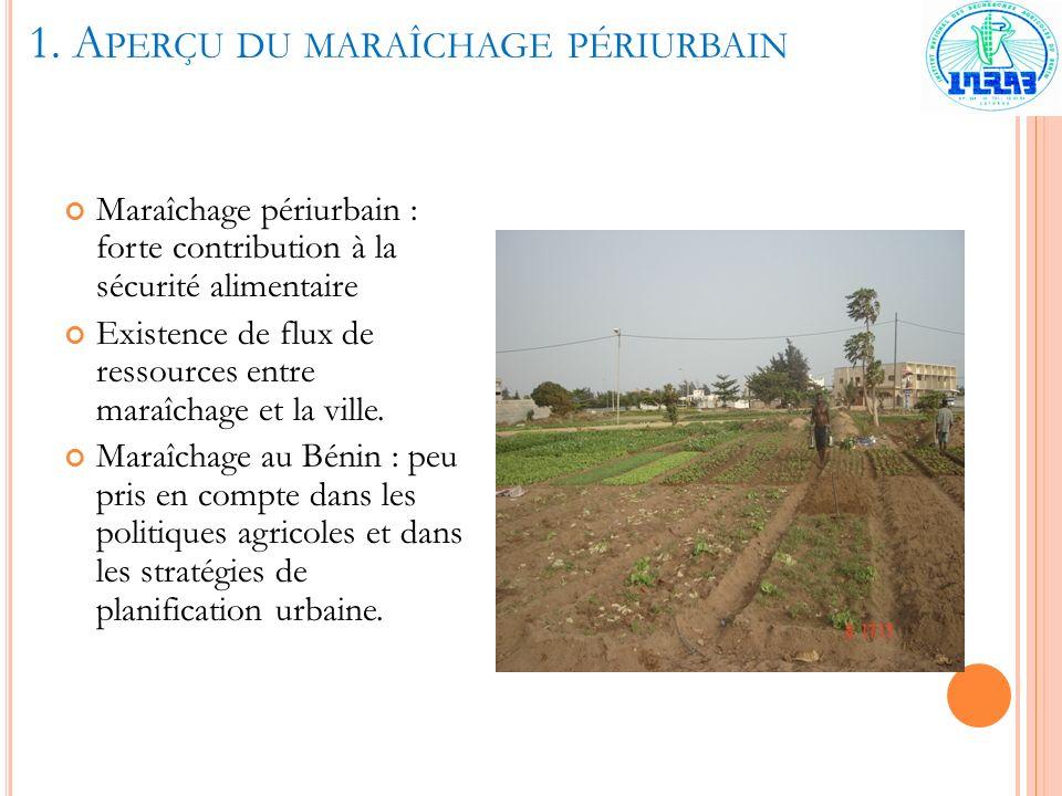 1. A PERÇU DU MARAÎCHAGE PÉRIURBAIN Maraîchage périurbain : forte contribution à la sécurité alimentaire Existence de flux de ressources entre maraîch