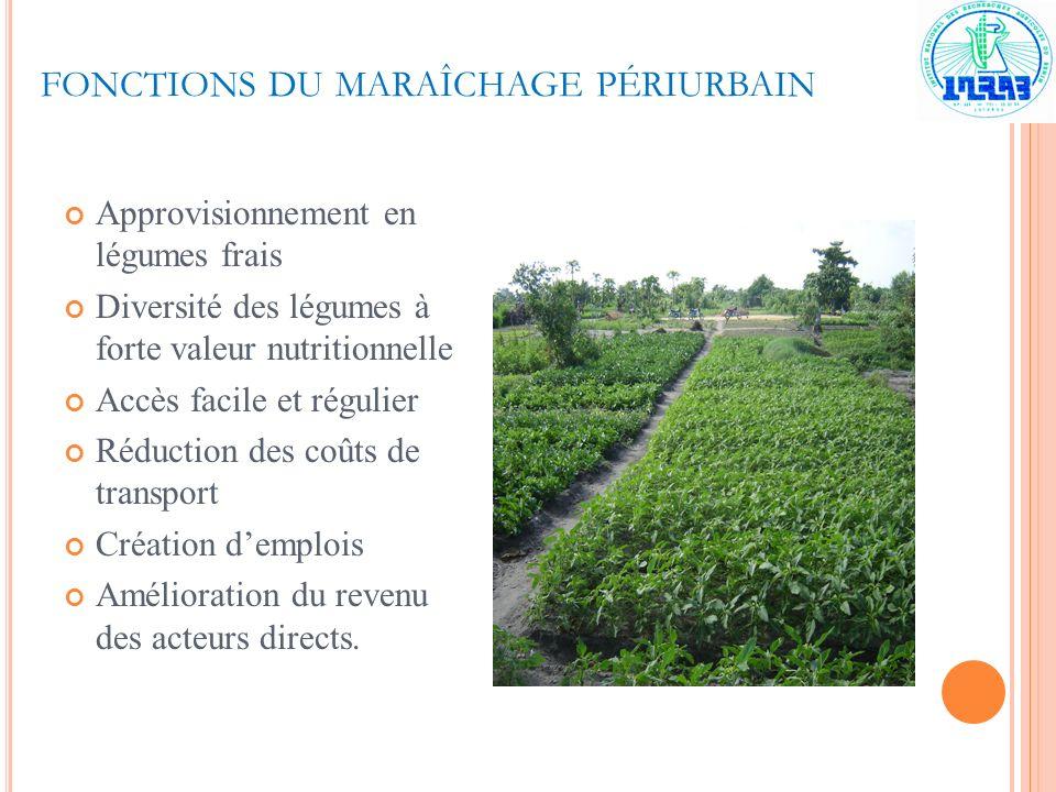 FONCTIONS DU MARAÎCHAGE PÉRIURBAIN Approvisionnement en légumes frais Diversité des légumes à forte valeur nutritionnelle Accès facile et régulier Réd