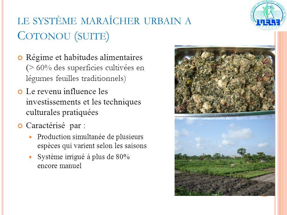 LE SYSTÈME MARAÎCHER URBAIN A C OTONOU ( SUITE ) Régime et habitudes alimentaires (> 60% des superficies cultivées en légumes feuilles traditionnels)