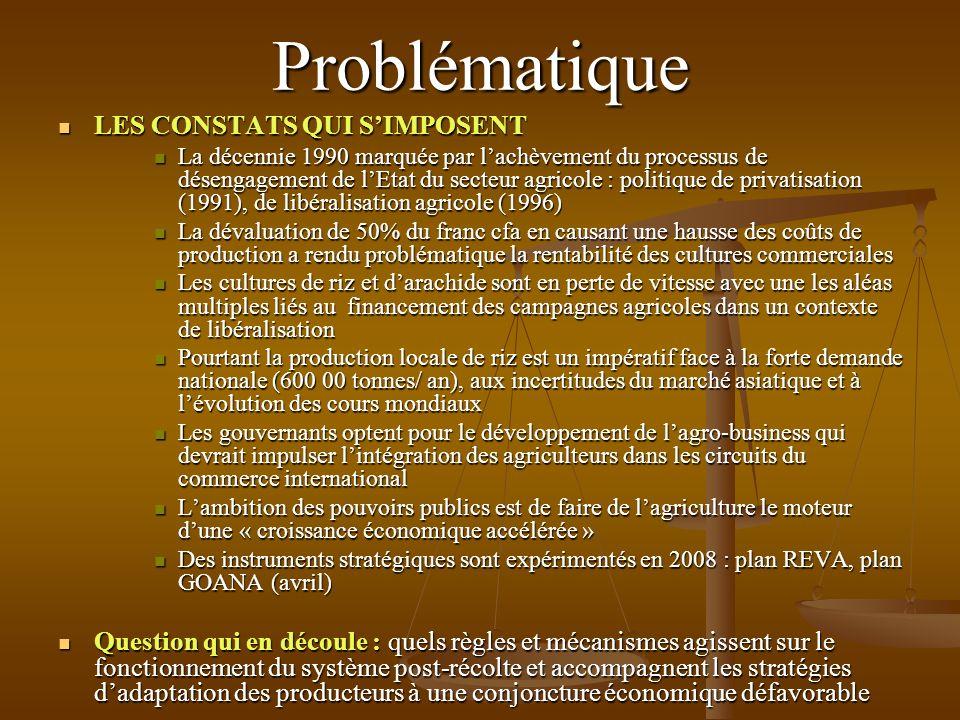 Problématique LES CONSTATS QUI SIMPOSENT LES CONSTATS QUI SIMPOSENT La décennie 1990 marquée par lachèvement du processus de désengagement de lEtat du secteur agricole : politique de privatisation (1991), de libéralisation agricole (1996) La décennie 1990 marquée par lachèvement du processus de désengagement de lEtat du secteur agricole : politique de privatisation (1991), de libéralisation agricole (1996) La dévaluation de 50% du franc cfa en causant une hausse des coûts de production a rendu problématique la rentabilité des cultures commerciales La dévaluation de 50% du franc cfa en causant une hausse des coûts de production a rendu problématique la rentabilité des cultures commerciales Les cultures de riz et darachide sont en perte de vitesse avec une les aléas multiples liés au financement des campagnes agricoles dans un contexte de libéralisation Les cultures de riz et darachide sont en perte de vitesse avec une les aléas multiples liés au financement des campagnes agricoles dans un contexte de libéralisation Pourtant la production locale de riz est un impératif face à la forte demande nationale (600 00 tonnes/ an), aux incertitudes du marché asiatique et à lévolution des cours mondiaux Pourtant la production locale de riz est un impératif face à la forte demande nationale (600 00 tonnes/ an), aux incertitudes du marché asiatique et à lévolution des cours mondiaux Les gouvernants optent pour le développement de lagro-business qui devrait impulser lintégration des agriculteurs dans les circuits du commerce international Les gouvernants optent pour le développement de lagro-business qui devrait impulser lintégration des agriculteurs dans les circuits du commerce international Lambition des pouvoirs publics est de faire de lagriculture le moteur dune « croissance économique accélérée » Lambition des pouvoirs publics est de faire de lagriculture le moteur dune « croissance économique accélérée » Des instruments stratégiques sont expérimentés en 2008 : plan REVA, pl