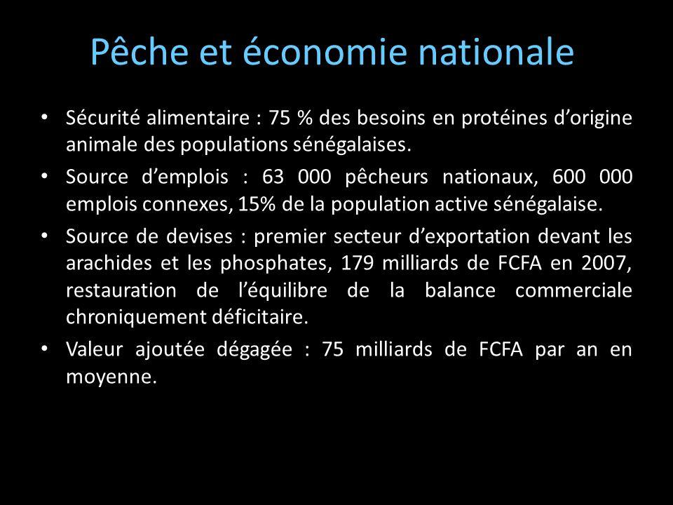 Pêche et économie nationale Sécurité alimentaire : 75 % des besoins en protéines dorigine animale des populations sénégalaises. Source demplois : 63 0