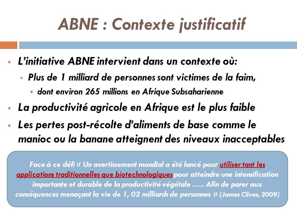 ABNE : Contexte justificatif Linitiative ABNE intervient dans un contexte où: Plus de 1 milliard de personnes sont victimes de la faim, dont environ 2