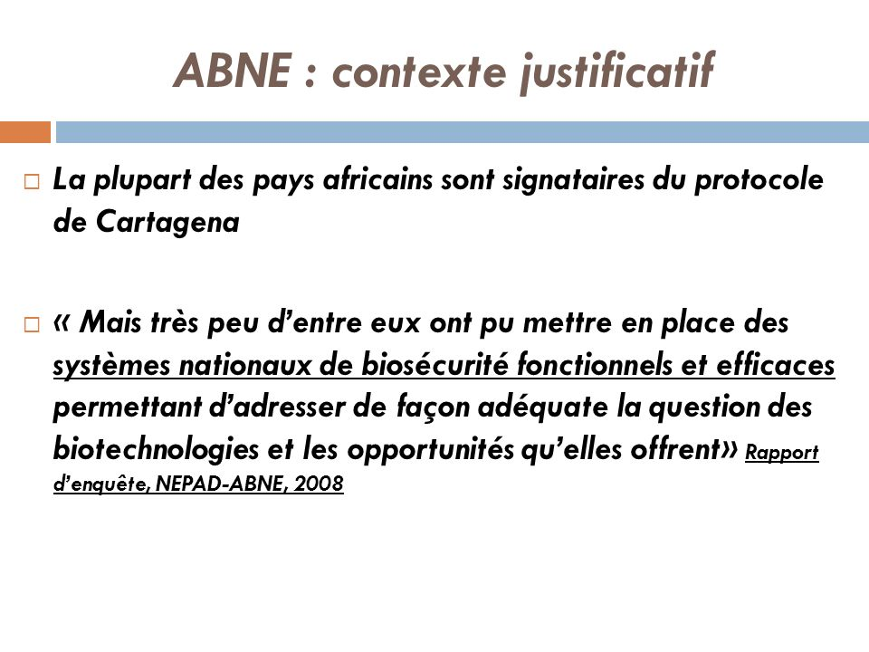 ABNE : contexte justificatif La plupart des pays africains sont signataires du protocole de Cartagena « Mais très peu dentre eux ont pu mettre en plac