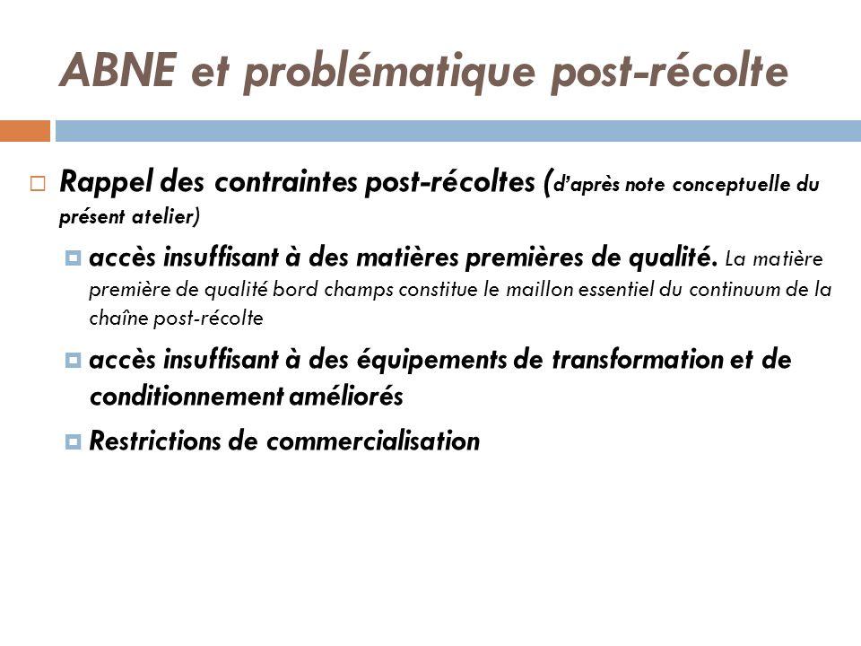 ABNE et problématique post-récolte Rappel des contraintes post-récoltes ( daprès note conceptuelle du présent atelier) accès insuffisant à des matière