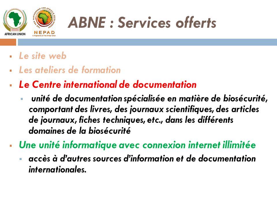 Le site web Les ateliers de formation Le Centre international de documentation unité de documentation spécialisée en matière de biosécurité, comportan