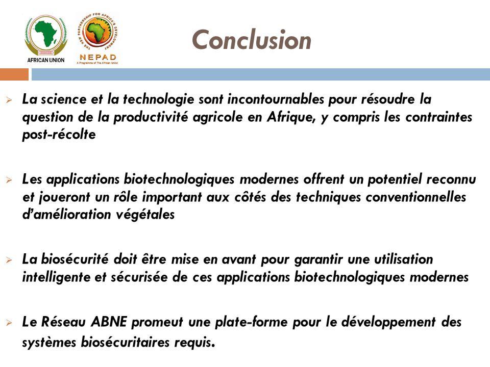 La science et la technologie sont incontournables pour résoudre la question de la productivité agricole en Afrique, y compris les contraintes post-réc