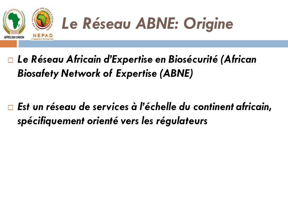 Le Réseau ABNE: Origine Le Réseau Africain dExpertise en Biosécurité (African Biosafety Network of Expertise (ABNE) Est un réseau de services à léchel