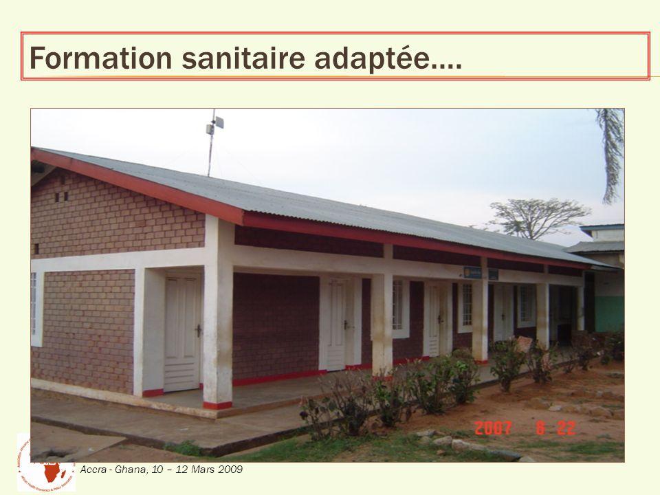 Conférence Inaugurale de lAssociation Africaine déconomie et Politique de Santé (AfHEA) Accra - Ghana, 10 – 12 Mars 2009 Formation sanitaire adaptée….