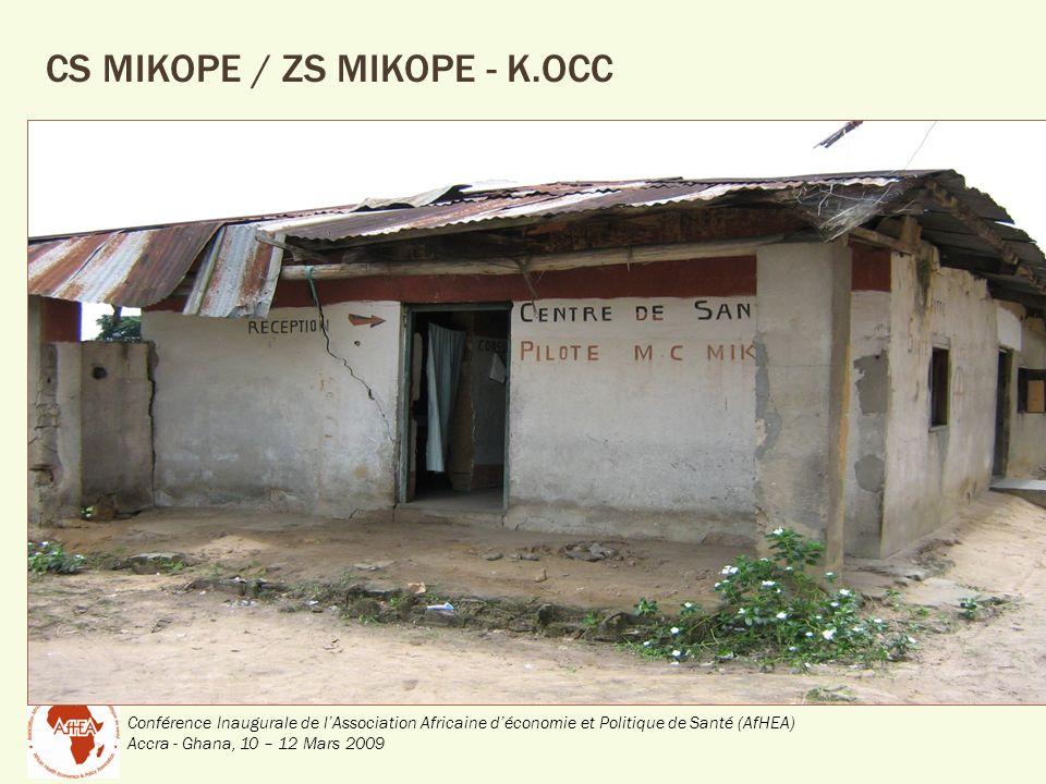Conférence Inaugurale de lAssociation Africaine déconomie et Politique de Santé (AfHEA) Accra - Ghana, 10 – 12 Mars 2009 CS MIKOPE / ZS MIKOPE - K.OCC