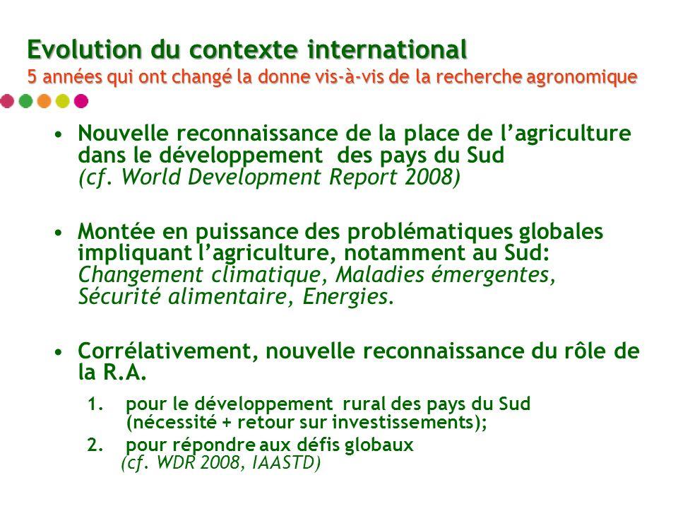 Nouvelle reconnaissance de la place de lagriculture dans le développement des pays du Sud (cf.