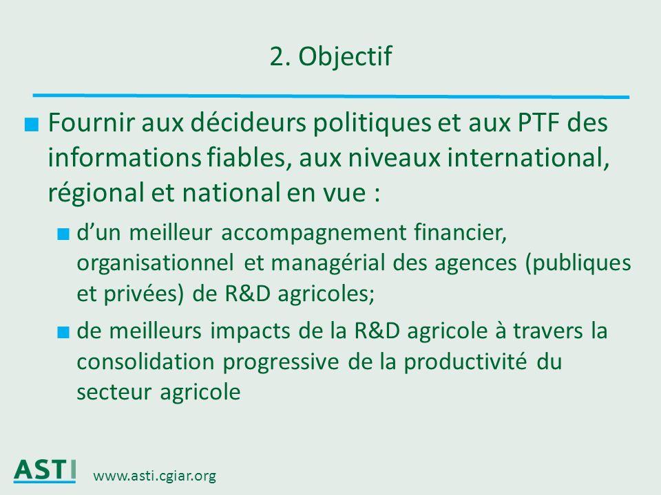 www.asti.cgiar.org 2. Objectif Fournir aux décideurs politiques et aux PTF des informations fiables, aux niveaux international, régional et national e
