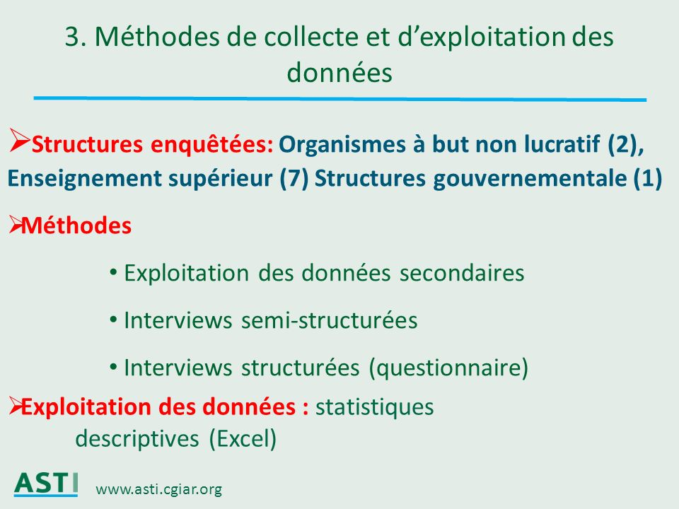 www.asti.cgiar.org 3. Méthodes de collecte et dexploitation des données Structures enquêtées: Organismes à but non lucratif (2), Enseignement supérieu