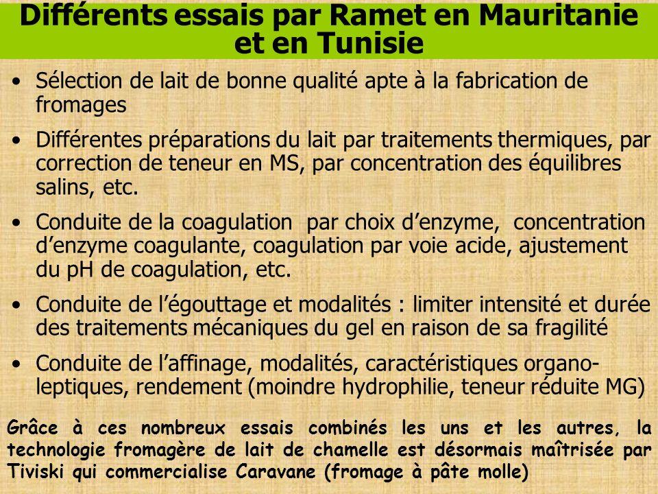 Différents essais par Ramet en Mauritanie et en Tunisie Sélection de lait de bonne qualité apte à la fabrication de fromages Différentes préparations