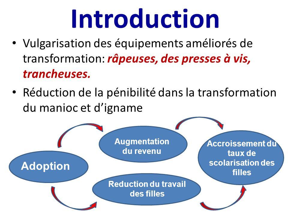 Introduction Vulgarisation des équipements améliorés de transformation: râpeuses, des presses à vis, trancheuses.