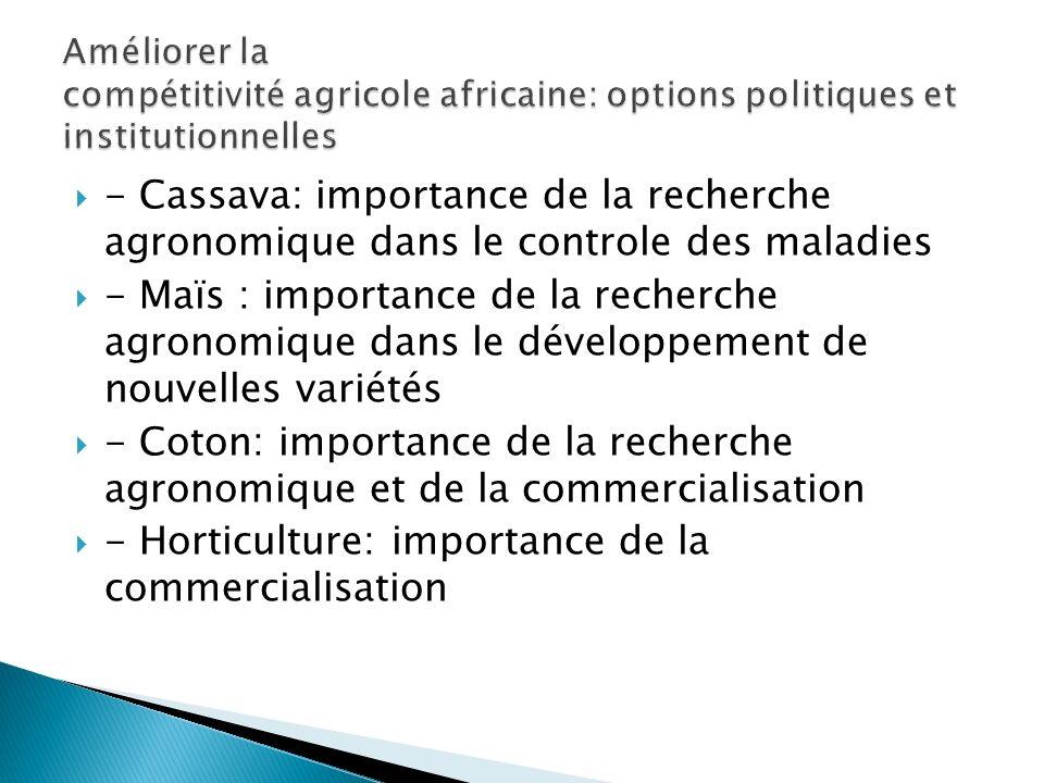 - Cassava: importance de la recherche agronomique dans le controle des maladies - Maïs : importance de la recherche agronomique dans le développement de nouvelles variétés - Coton: importance de la recherche agronomique et de la commercialisation - Horticulture: importance de la commercialisation