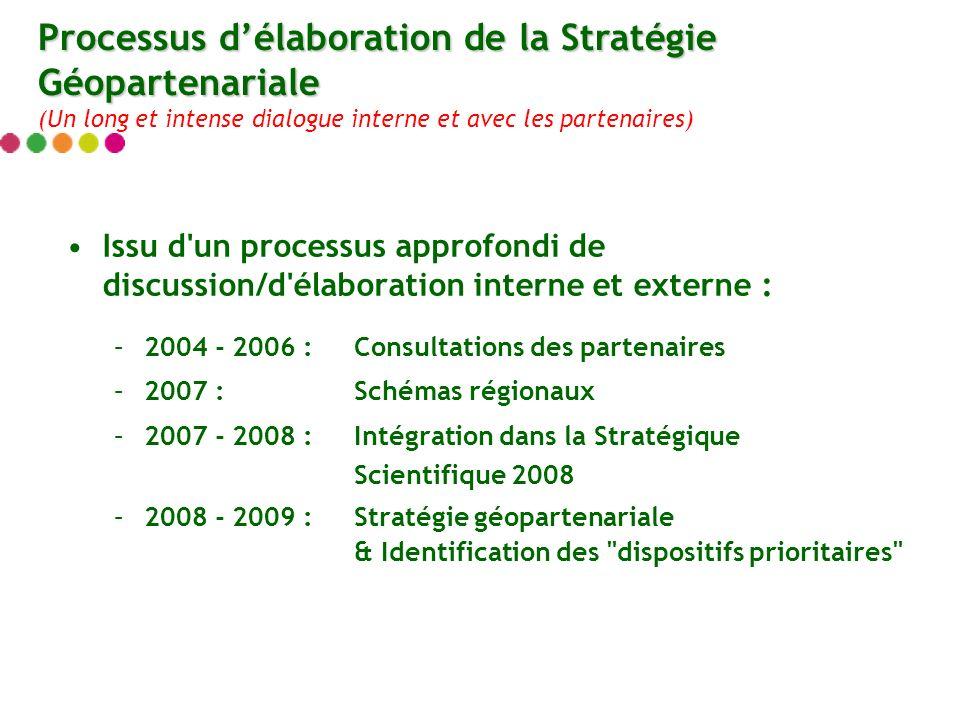 Issu d'un processus approfondi de discussion/d'élaboration interne et externe : –2004 - 2006 :Consultations des partenaires –2007 : Schémas régionaux