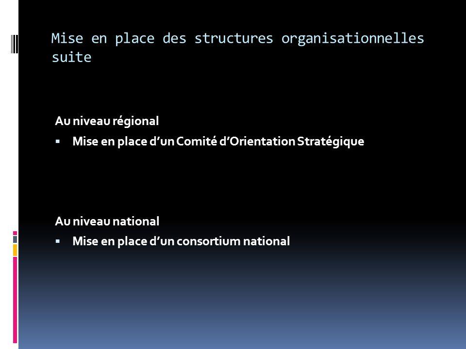 Mise en place des structures organisationnelles suite Au niveau régional Mise en place dun Comité dOrientation Stratégique Au niveau national Mise en