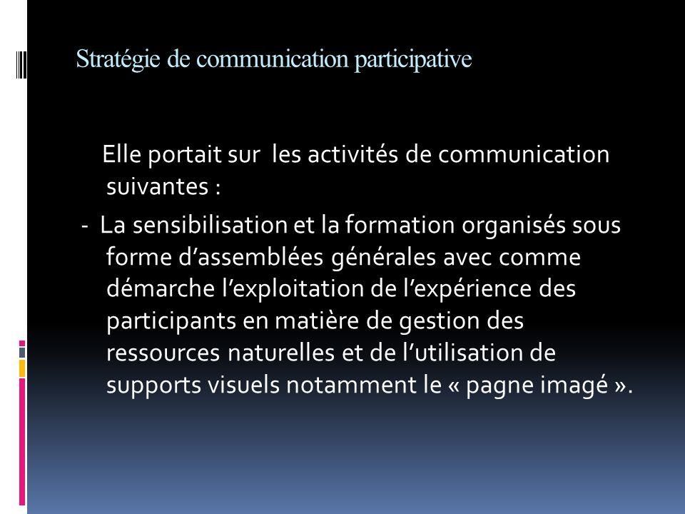Stratégie de communication participative Elle portait sur les activités de communication suivantes : - La sensibilisation et la formation organisés so