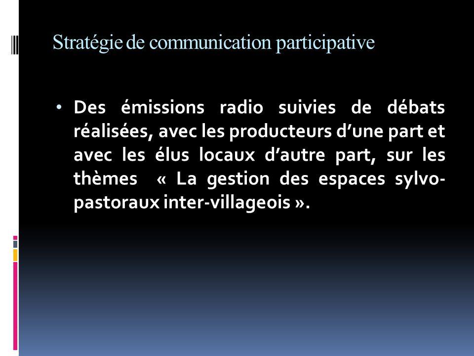 Stratégie de communication participative Des émissions radio suivies de débats réalisées, avec les producteurs dune part et avec les élus locaux dautr