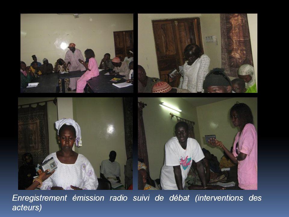 Photos de lenregistrement émission radio suivi de débat (interventions des acteurs) Tableau 4 : Liste des renforcements de capacités faites au cours d