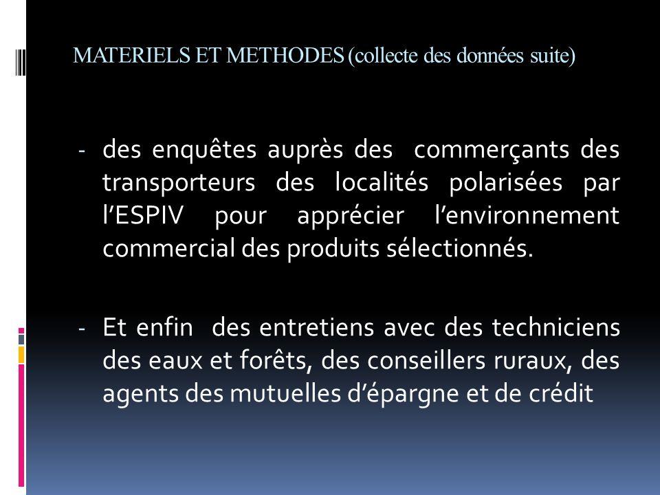 MATERIELS ET METHODES (collecte des données suite) - des enquêtes auprès des commerçants des transporteurs des localités polarisées par lESPIV pour ap
