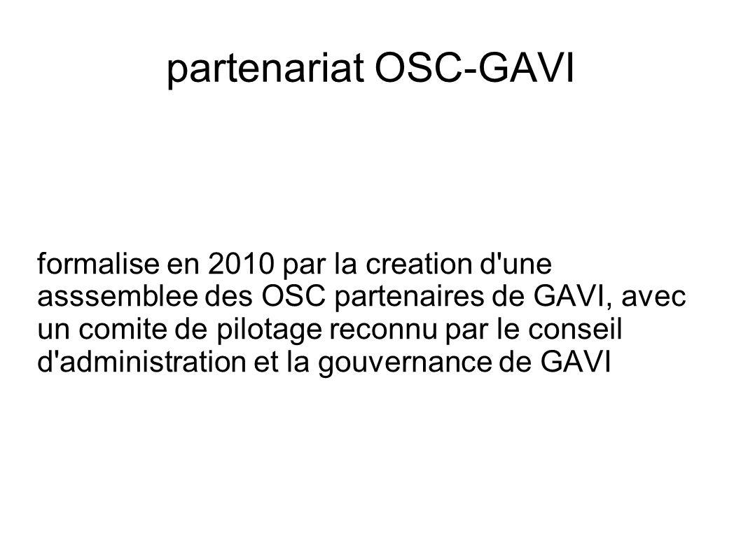partenariat OSC-GAVI formalise en 2010 par la creation d une asssemblee des OSC partenaires de GAVI, avec un comite de pilotage reconnu par le conseil d administration et la gouvernance de GAVI
