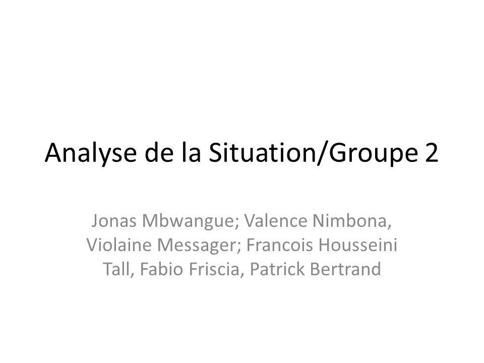 Analyse de la Situation/Groupe 2 Jonas Mbwangue; Valence Nimbona, Violaine Messager; Francois Housseini Tall, Fabio Friscia, Patrick Bertrand
