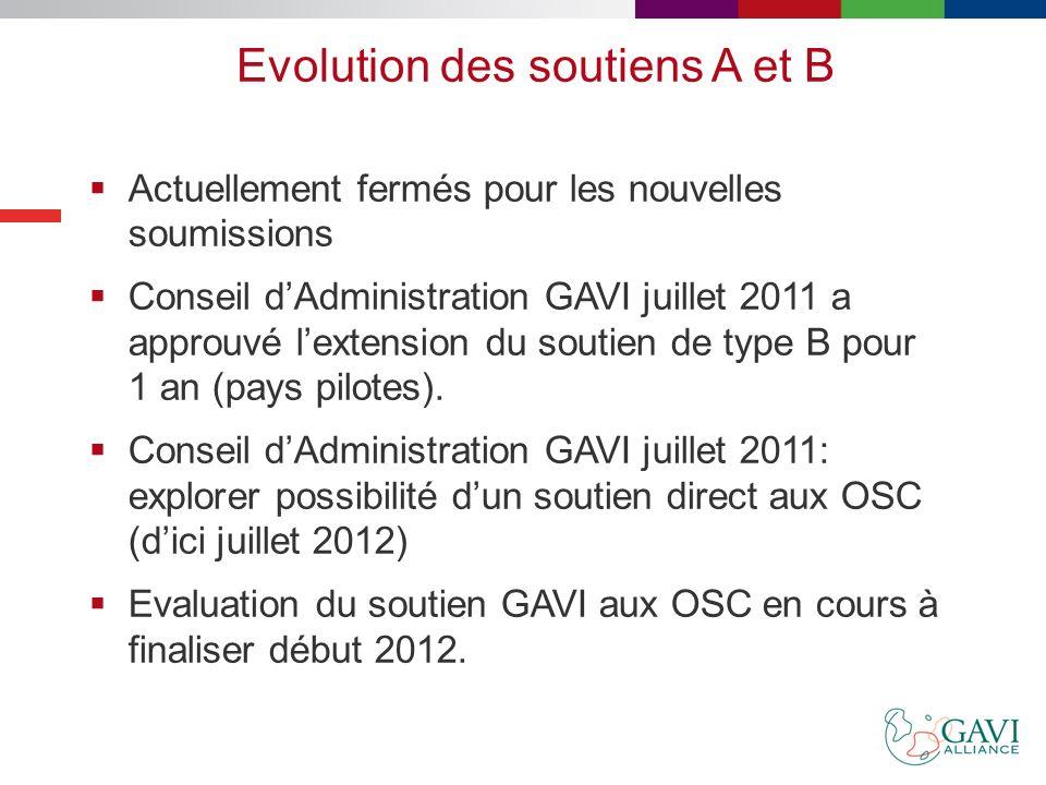 Types de soutien GAVI-OSC 2007-2009 Soutien type A Renforcer la coordination et la représentation des OSC dans le pays Tous les pays éligibles à GAVI