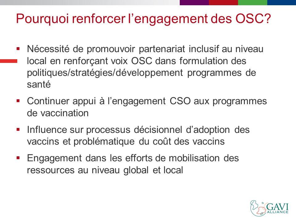 Pourquoi le soutien de GAVI aux OSC? Rôle clé/activités de santé publique: fourniture des services,mobilisation communautaire; suivi & évaluation; dis