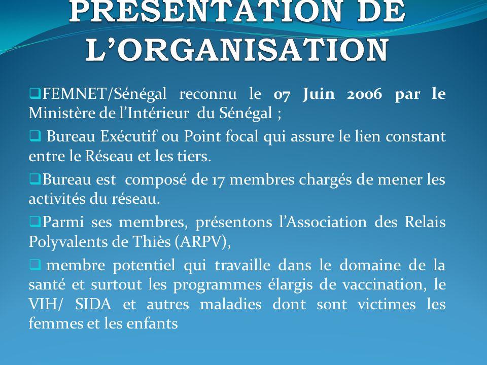 FEMNET/Sénégal reconnu le 07 Juin 2006 par le Ministère de lIntérieur du Sénégal ; Bureau Exécutif ou Point focal qui assure le lien constant entre le Réseau et les tiers.