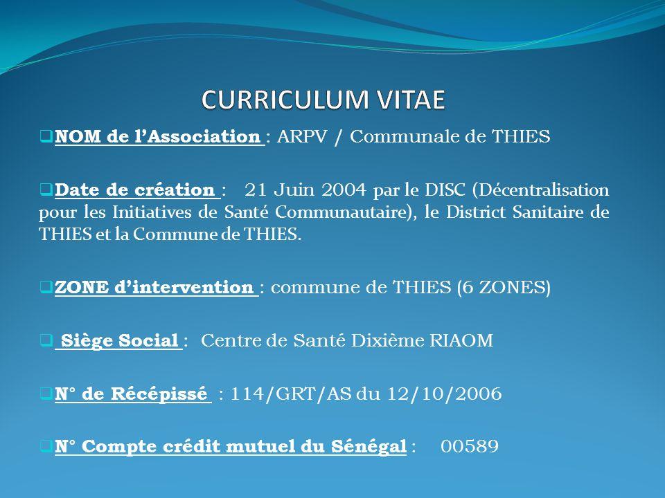 NOM de lAssociation : ARPV / Communale de THIES Date de création : 21 Juin 2004 par le DISC (Décentralisation pour les Initiatives de Santé Communautaire), le District Sanitaire de THIES et la Commune de THIES.
