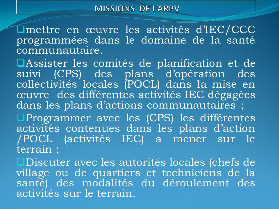 mettre en œuvre les activités dIEC/CCC programmées dans le domaine de la santé communautaire.