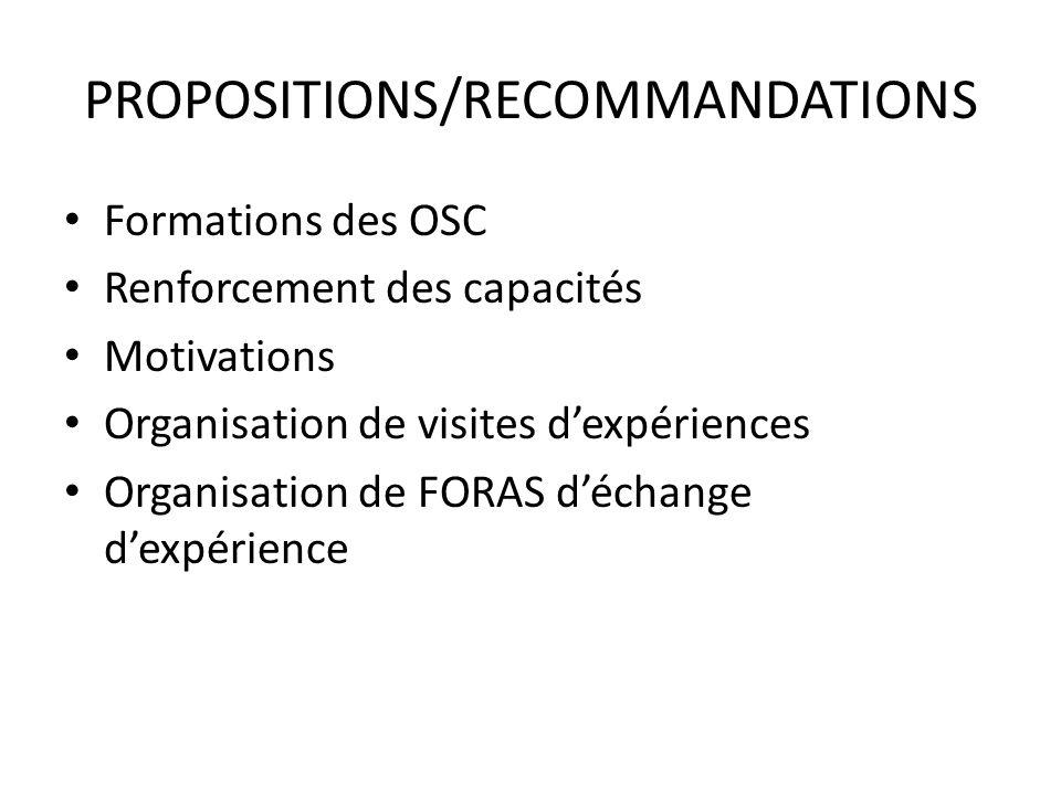 PROPOSITIONS/RECOMMANDATIONS Formations des OSC Renforcement des capacités Motivations Organisation de visites dexpériences Organisation de FORAS déch