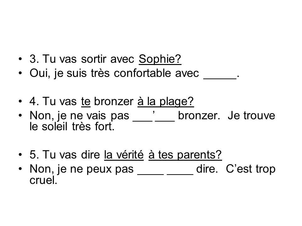 3. Tu vas sortir avec Sophie? Oui, je suis très confortable avec _____. 4. Tu vas te bronzer à la plage? Non, je ne vais pas ______ bronzer. Je trouve
