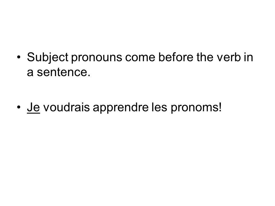 Subject pronouns come before the verb in a sentence. Je voudrais apprendre les pronoms!