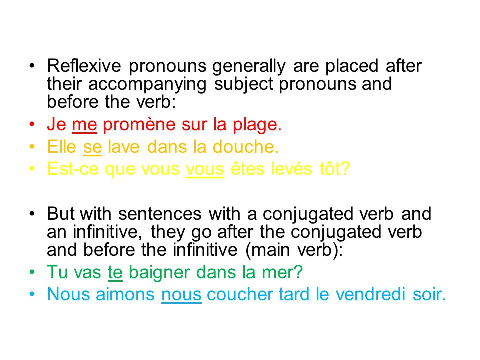 Reflexive pronouns generally are placed after their accompanying subject pronouns and before the verb: Je me promène sur la plage.