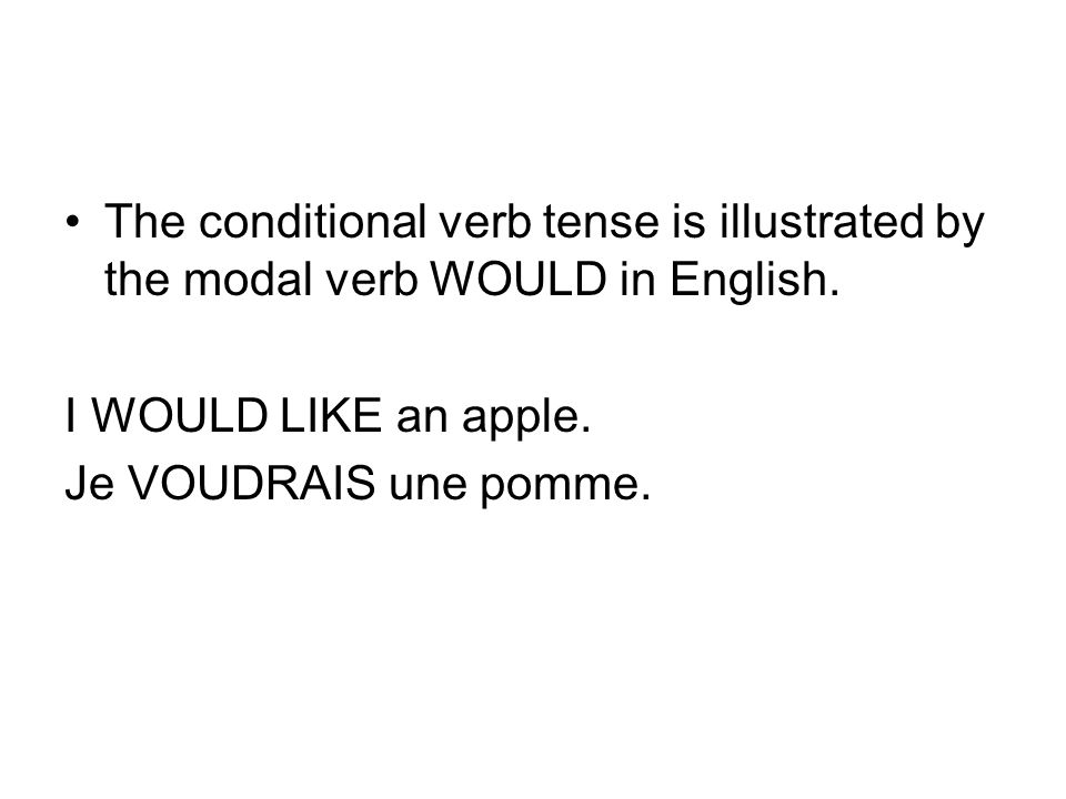 The conditional verb tense is illustrated by the modal verb WOULD in English.