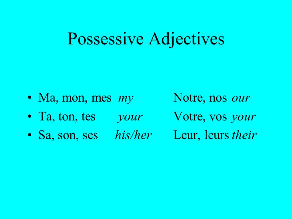 Rules for Usage Possessive adjectives are like other French adjectives- they agree in number and gender with the noun they modify.
