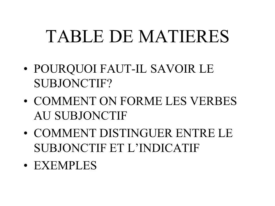 Il y a, comme souvent en français, une quantité embêtante de verbes qui sont IRRÉGULIERS au subjonctif.