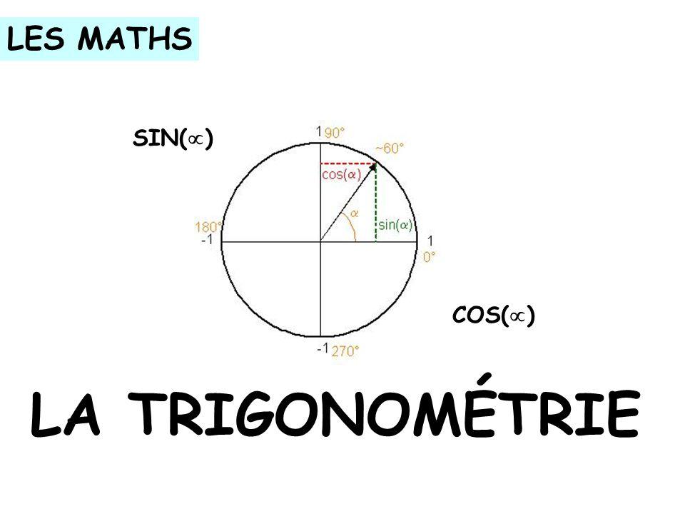 LES MATHS SIN( ) COS( ) LA TRIGONOMÉTRIE