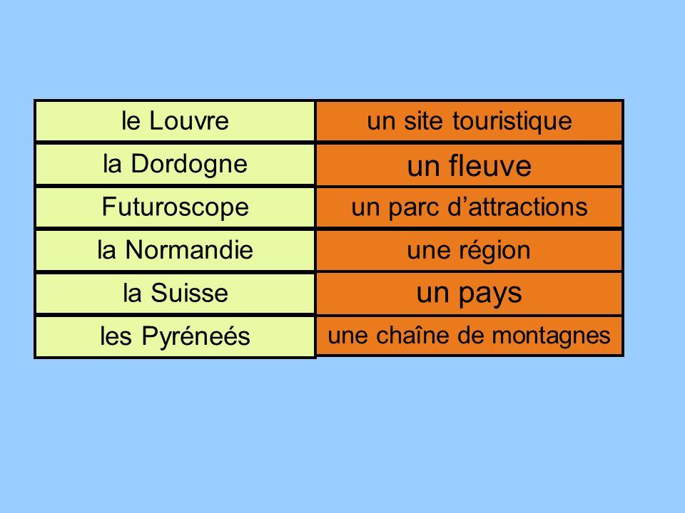 le Louvre la Dordogne Futuroscope la Normandie la Suisse les Pyréneés un pays une chaîne de montagnes un fleuve un parc dattractions une région un site touristique