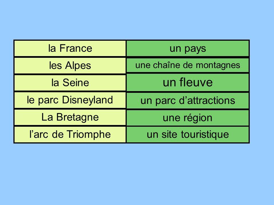la France les Alpes la Seine le parc Disneyland La Bretagne larc de Triomphe un pays une chaîne de montagnes un fleuve un parc dattractions une région un site touristique