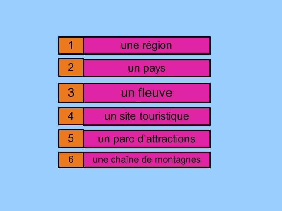 un p^y^ un ^l^u^e un ^a^c ^a^^ra^^ion^ une r^^i^^ un ^^te ^o^ri^^i^ue une ch^^^e d^ ^^^tag^^s 1 2 3 4 5 6 une région un pays un fleuve un site touristique un parc dattractions une chaîne de montagnes